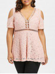 Plus Size Ladder Cut Out Lace Top -
