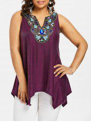 Plus Size Glitter Sharkbite Hem Tank Top -