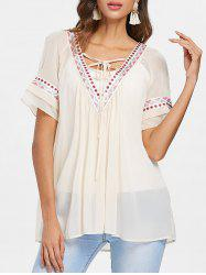 Lace Up Collar Embroidery Chiffon Blouse -