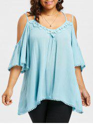 Open Shoulder Plus Size Applique Blouse -