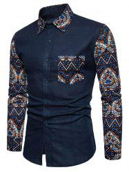 Floral Blue Patchwork Button Up Long Sleeve Shirt -