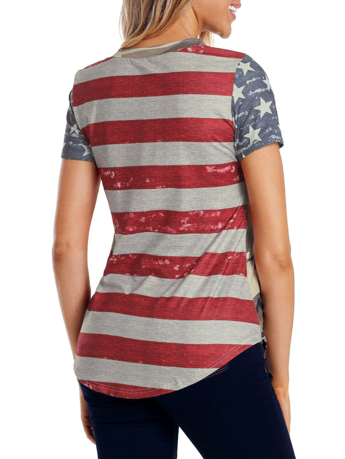Shop Camouflage Back Striped Insert T-shirt