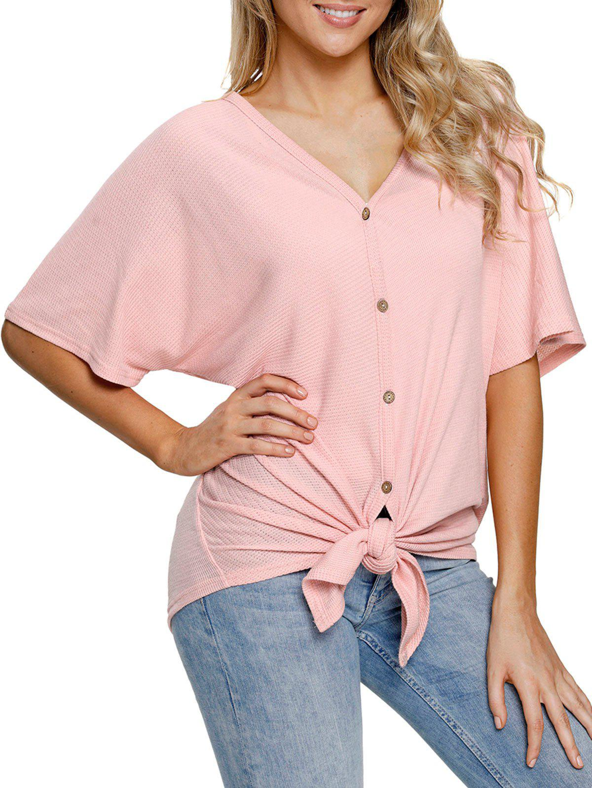 Discount Button Up Tie Knotted Top