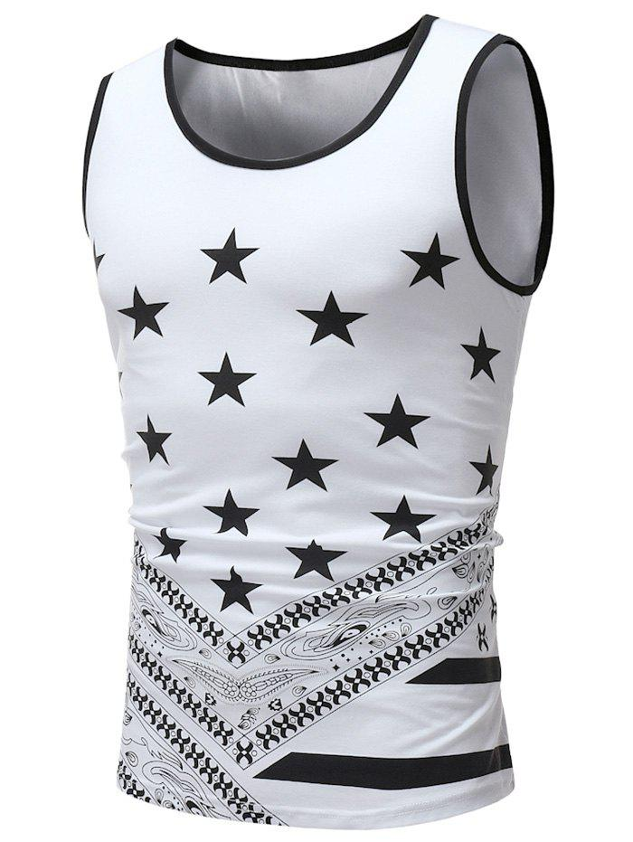 Shops Round Neck Star Print Tank Top