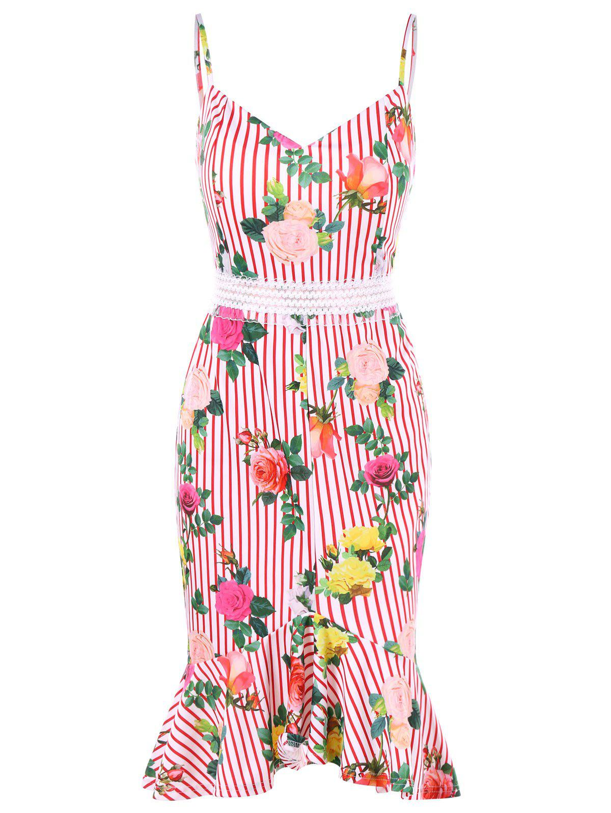 Hot Rose Stripes Print Cami Strap Fishtail Dress