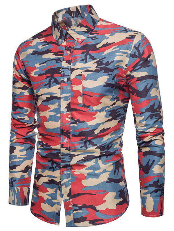 Fancy Pocket Camouflage Button Down Collar Long Sleeve Shirt
