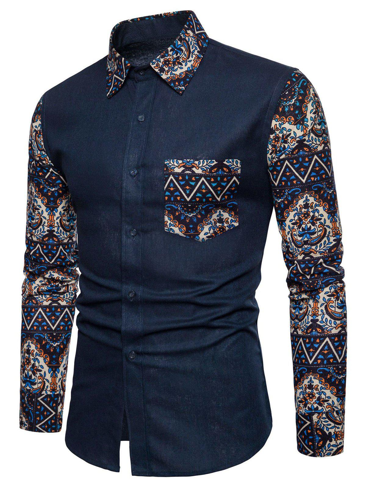Buy Floral Blue Patchwork Button Up Long Sleeve Shirt