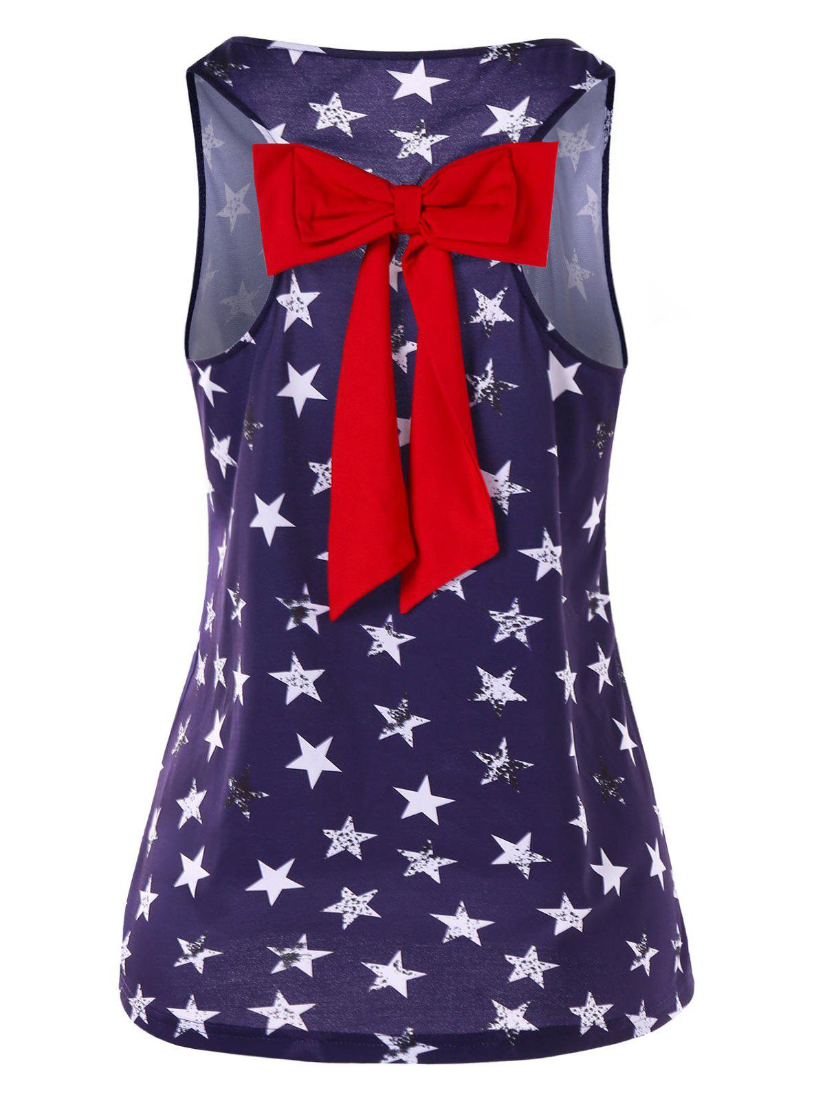 New Stars Print Tank Top with Bowknot