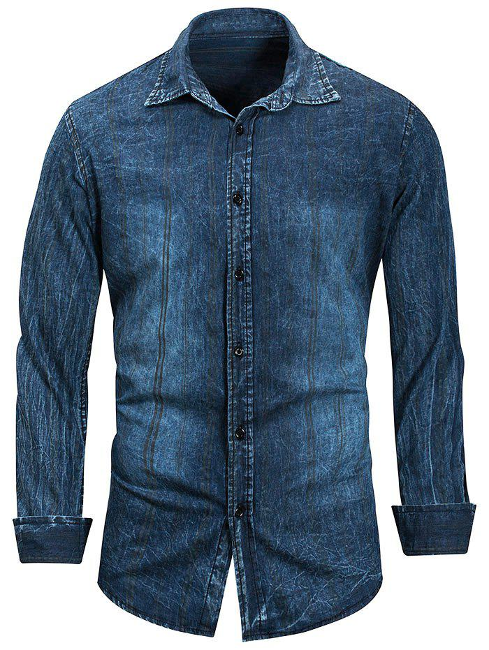 Outfit Button Up Solid Color Denim Shirt