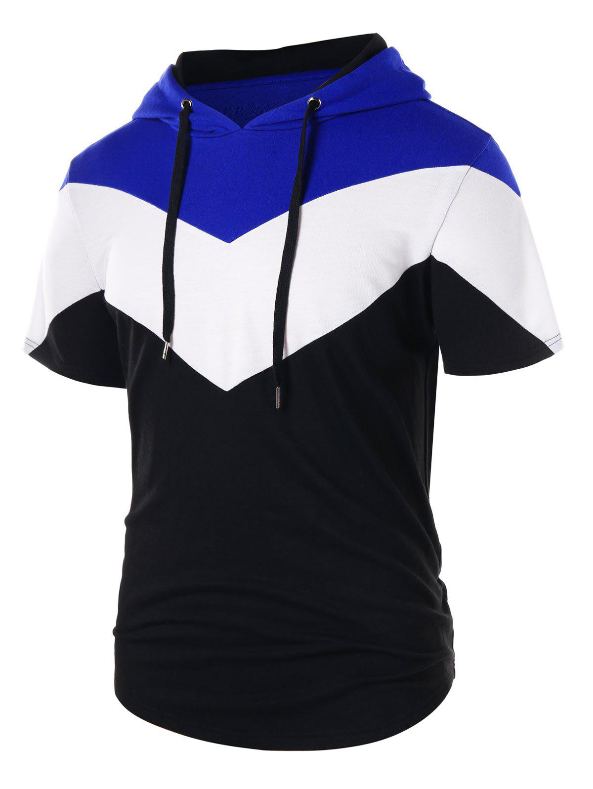Shops Drawstring Short Sleeve Panel Hoodie