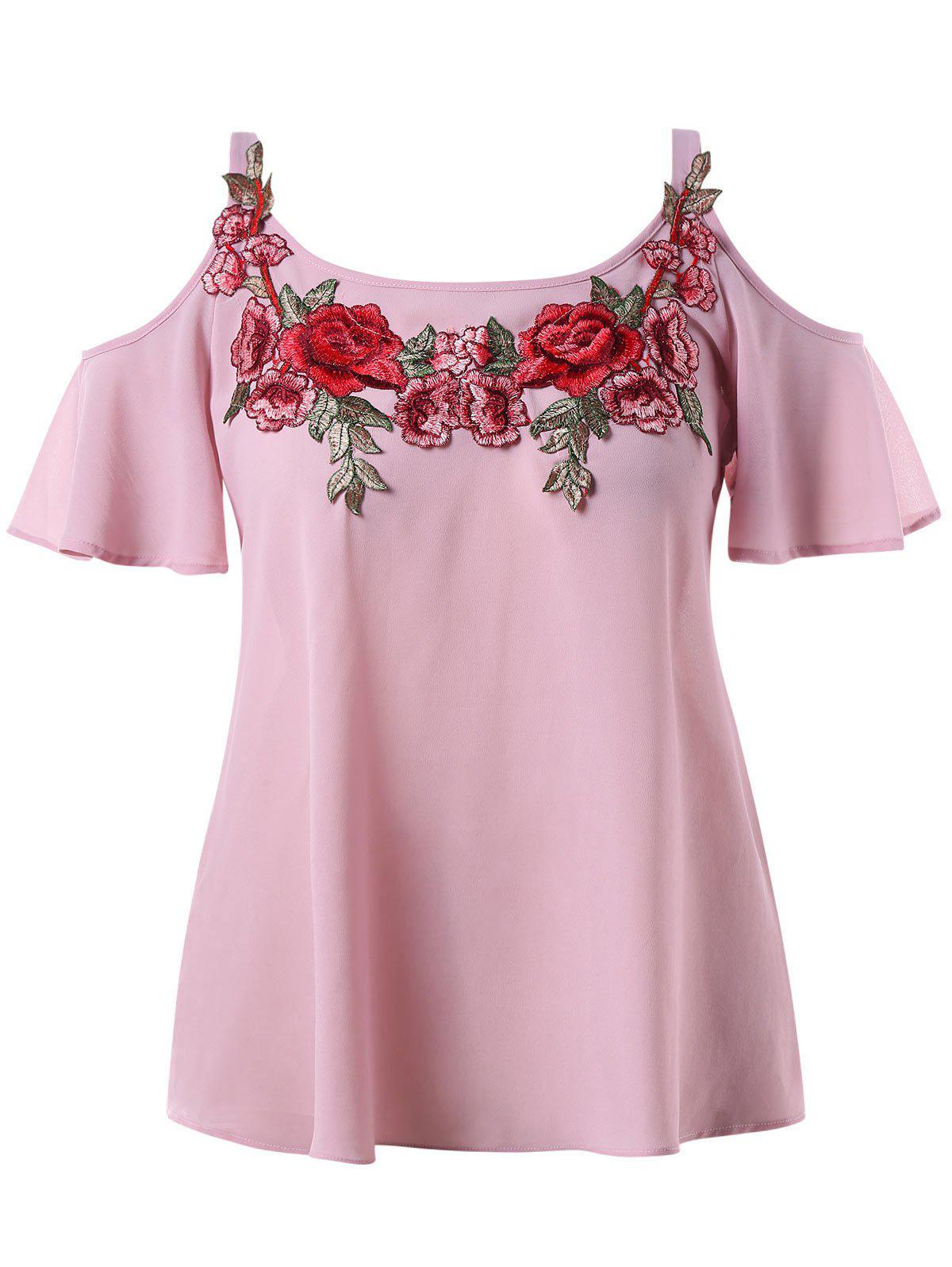 Hot Plus Size Cold Shoulder Embroidered Blouse