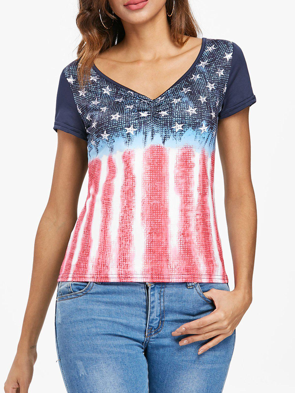 Affordable Patriotic American Flag Short Sleeve T-shirt