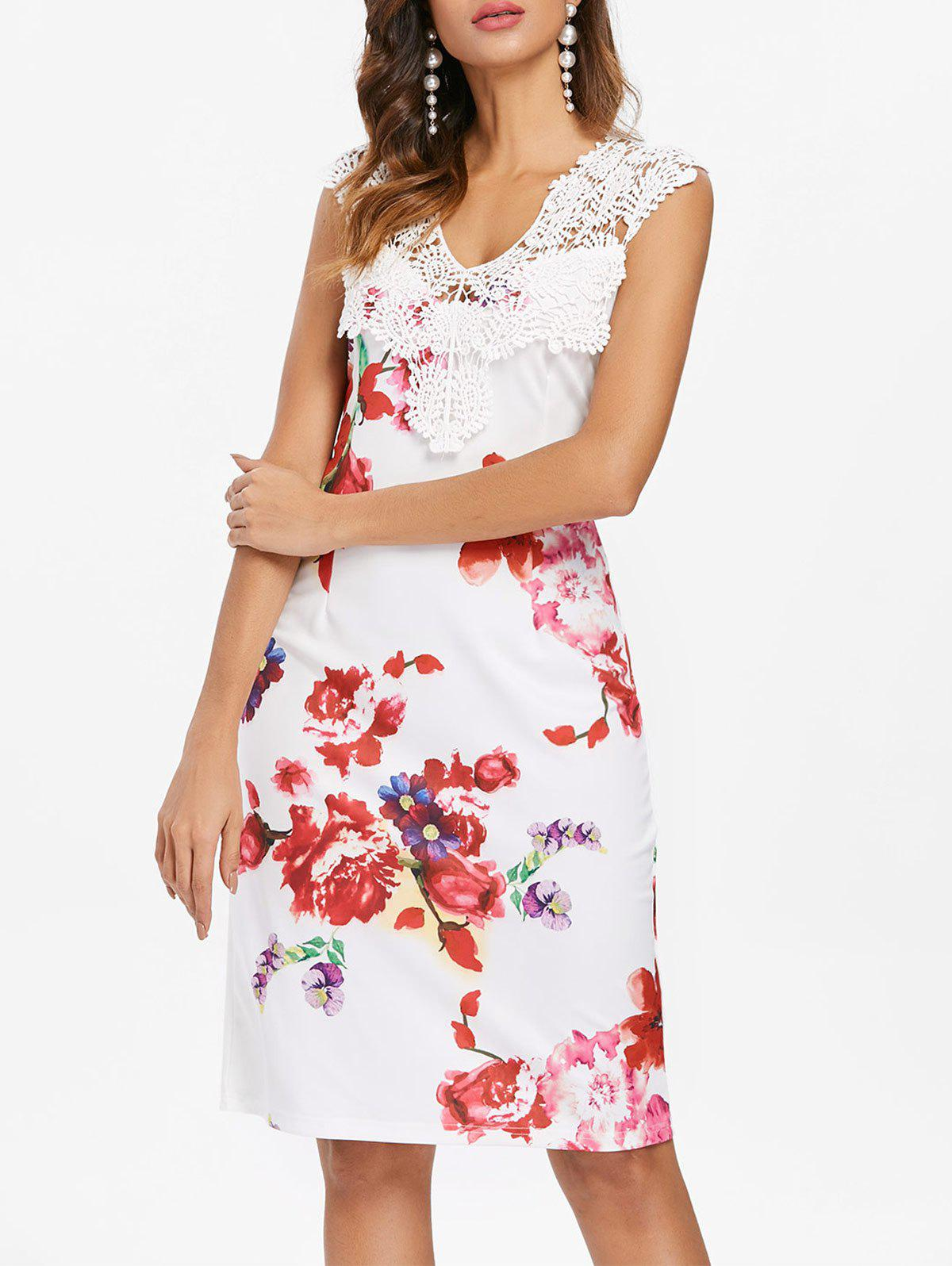 Robe Moulante Applique Floral Imprimé