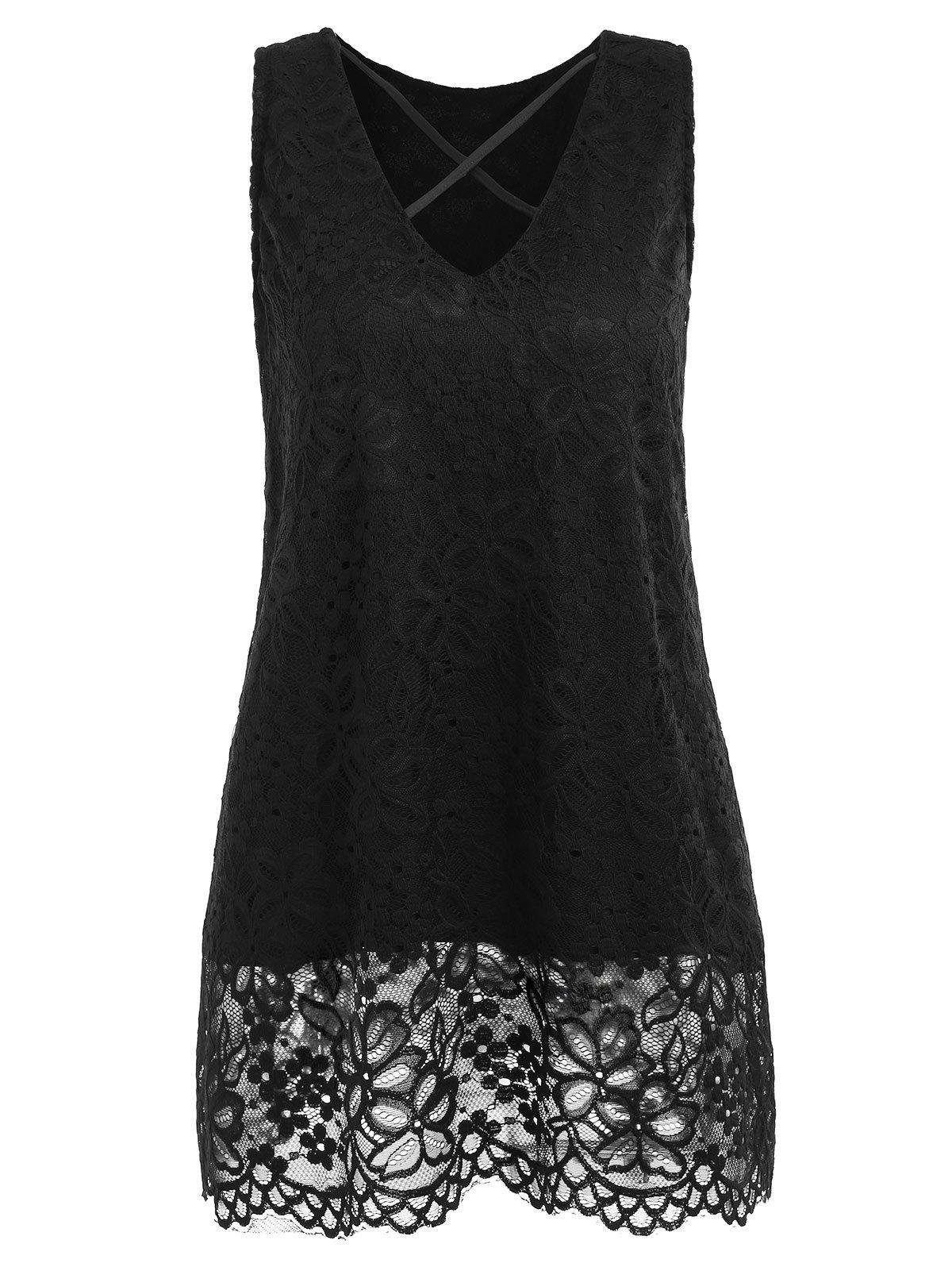 Latest Lace Criss Cross Tank Top