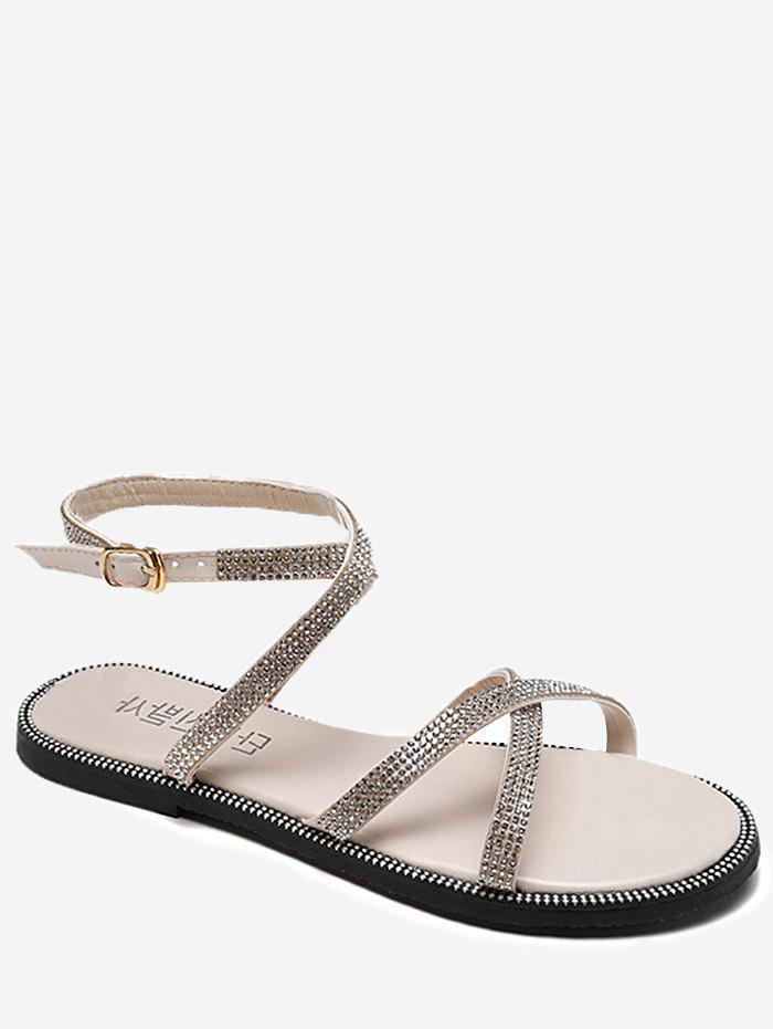 Trendy Cross Strap Shimmer Rhinestone Buckle Strap Sandals