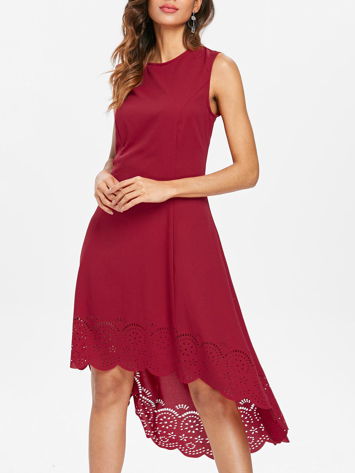 Outfits Casual Midi Dress with Cutwork Hem