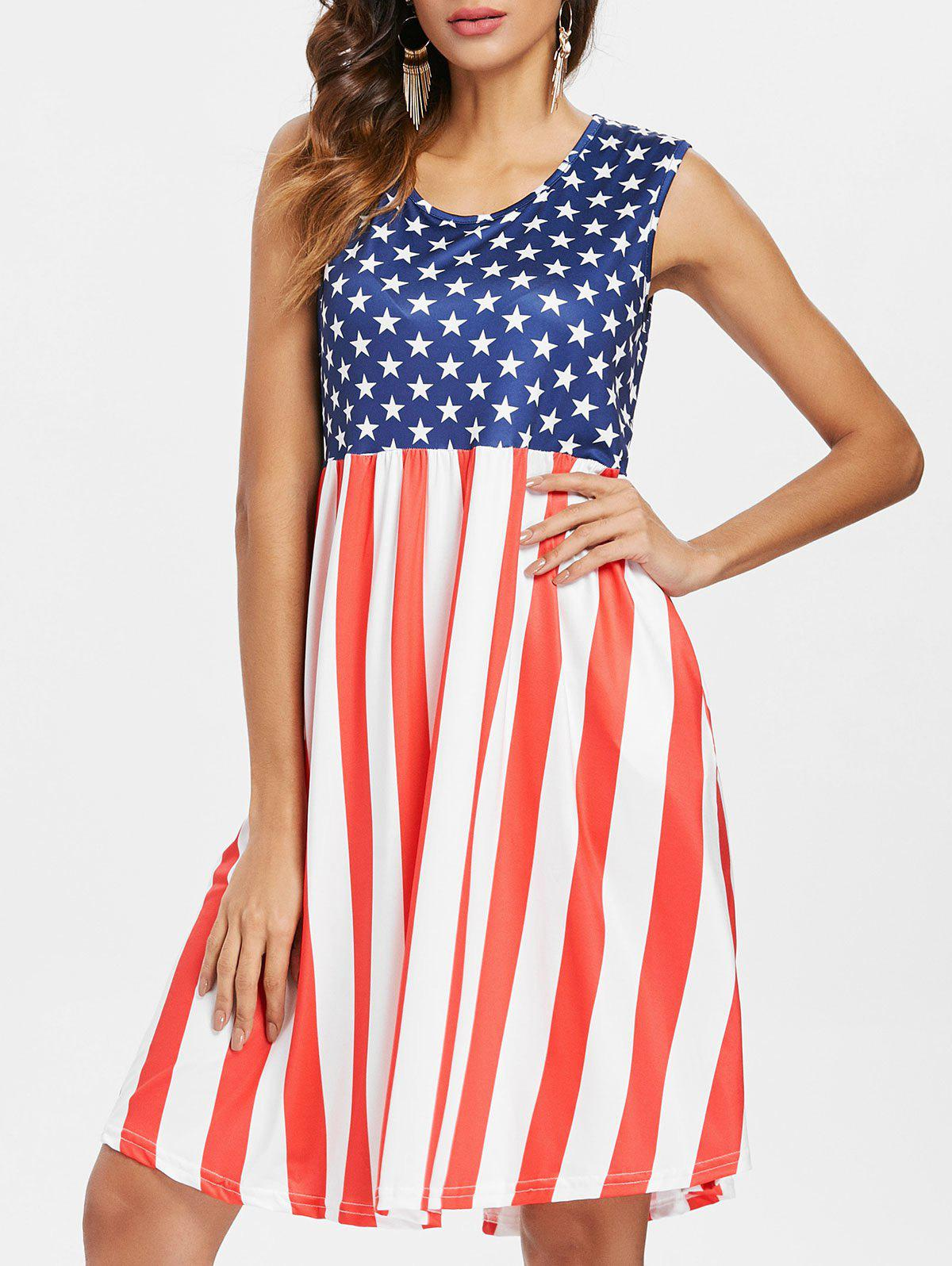 Fashion Sleeveless American Flag Dress