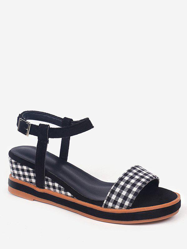 Latest Buckled Plaid Decorated Wedge Heel Ankle Wrap Sandals