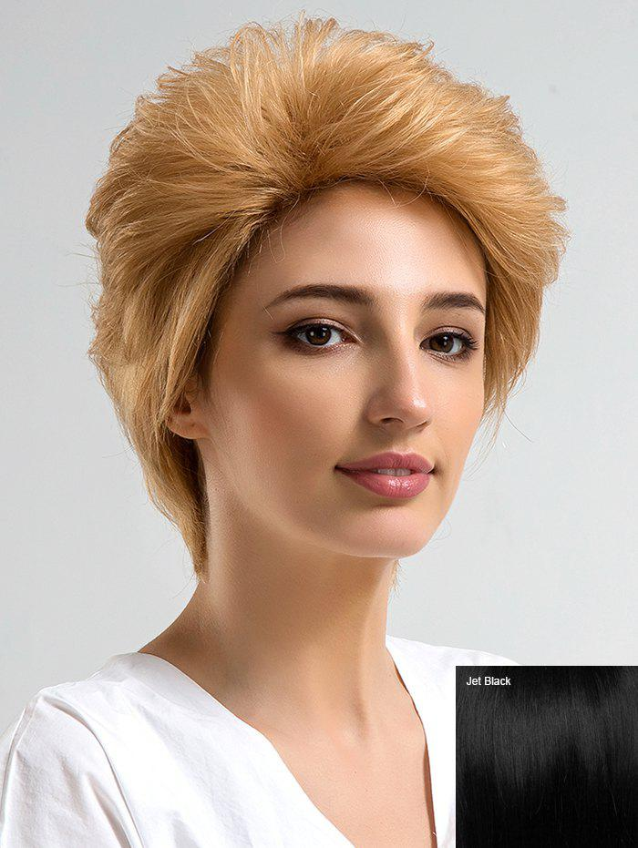Discount Short Side Bang Fluffy Layered Straight Human Hair Wig