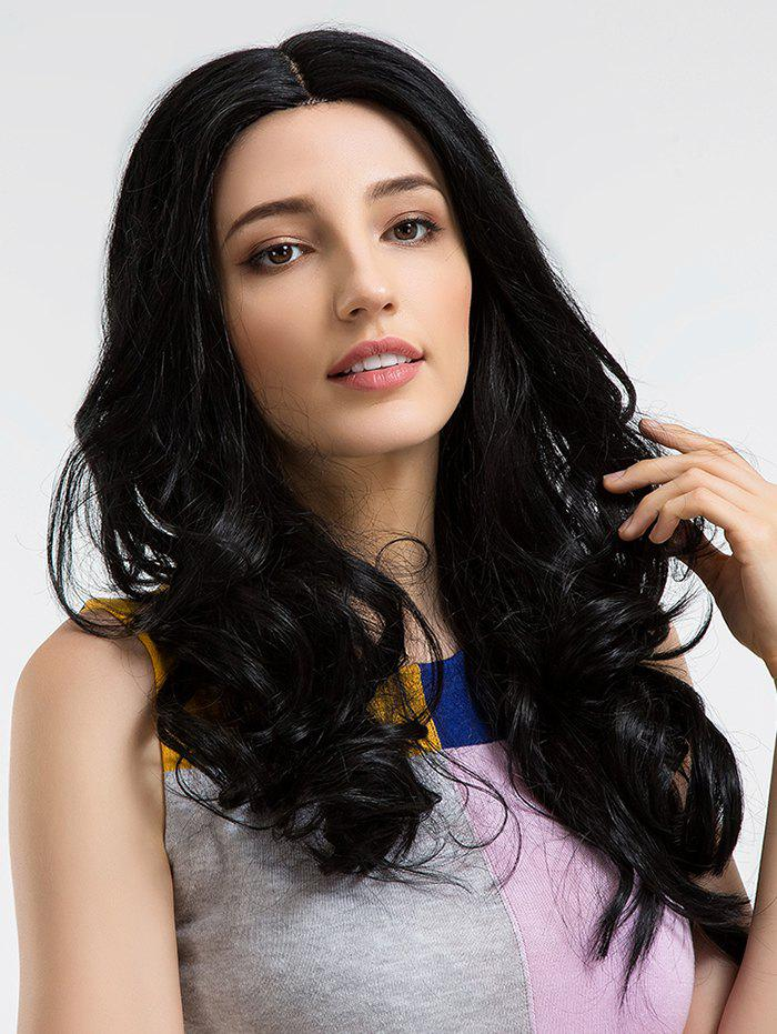 Fashion Long Center Parting Wavy Human Hair Wig