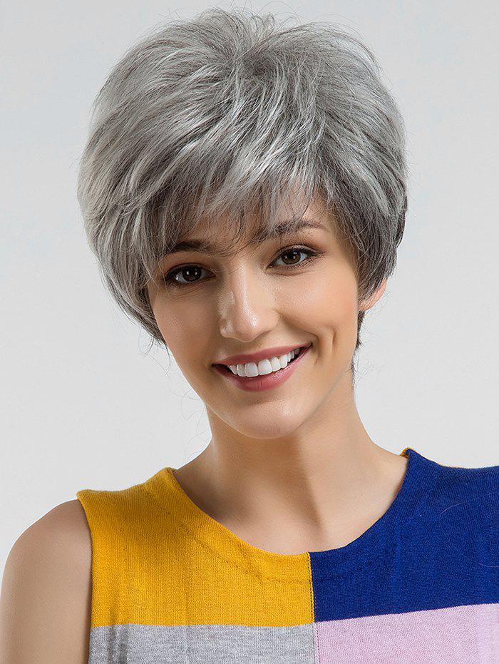 Buy Short Side Bang Straight Colormix Human Hair Wig