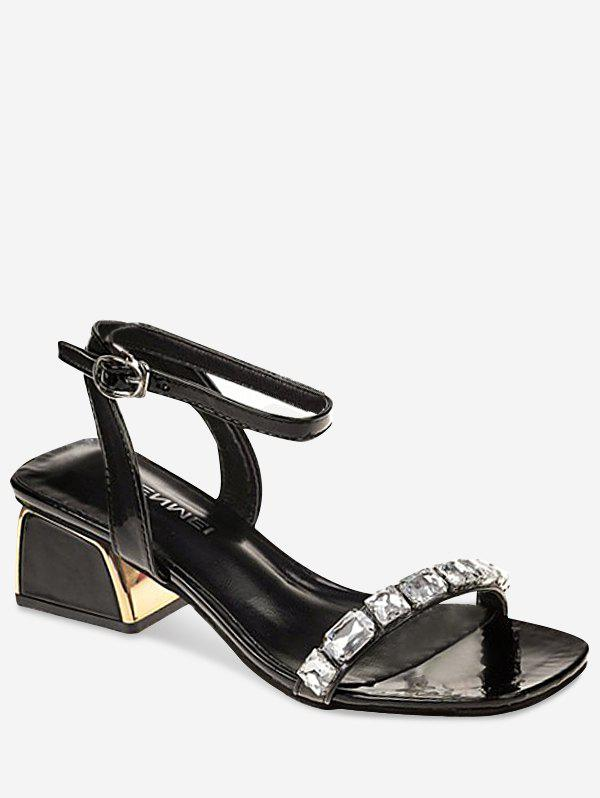 Outfit Sparkling Rhinestone Chunky Heel Chic Sandals