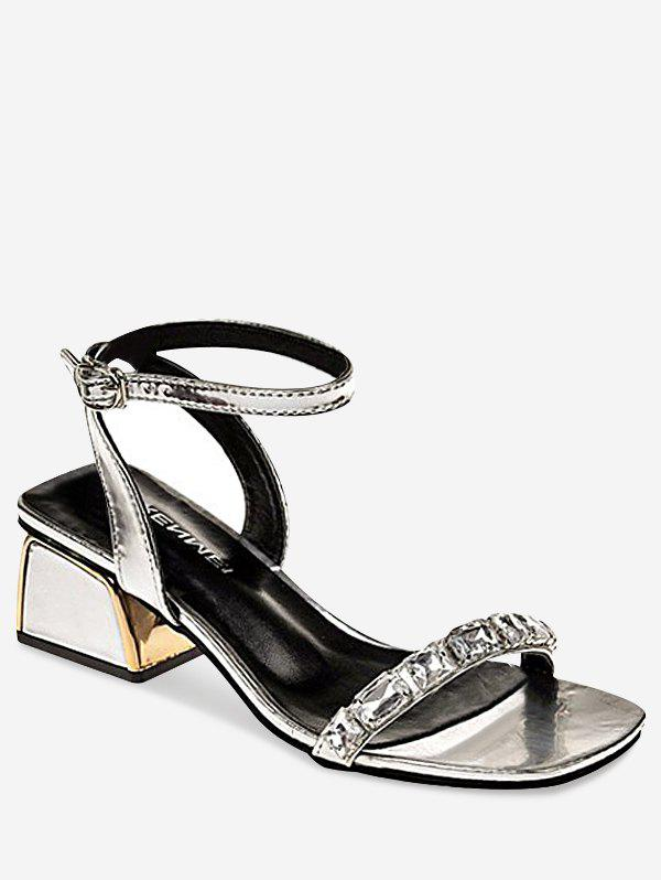 Cheap Sparkling Rhinestone Chunky Heel Chic Sandals