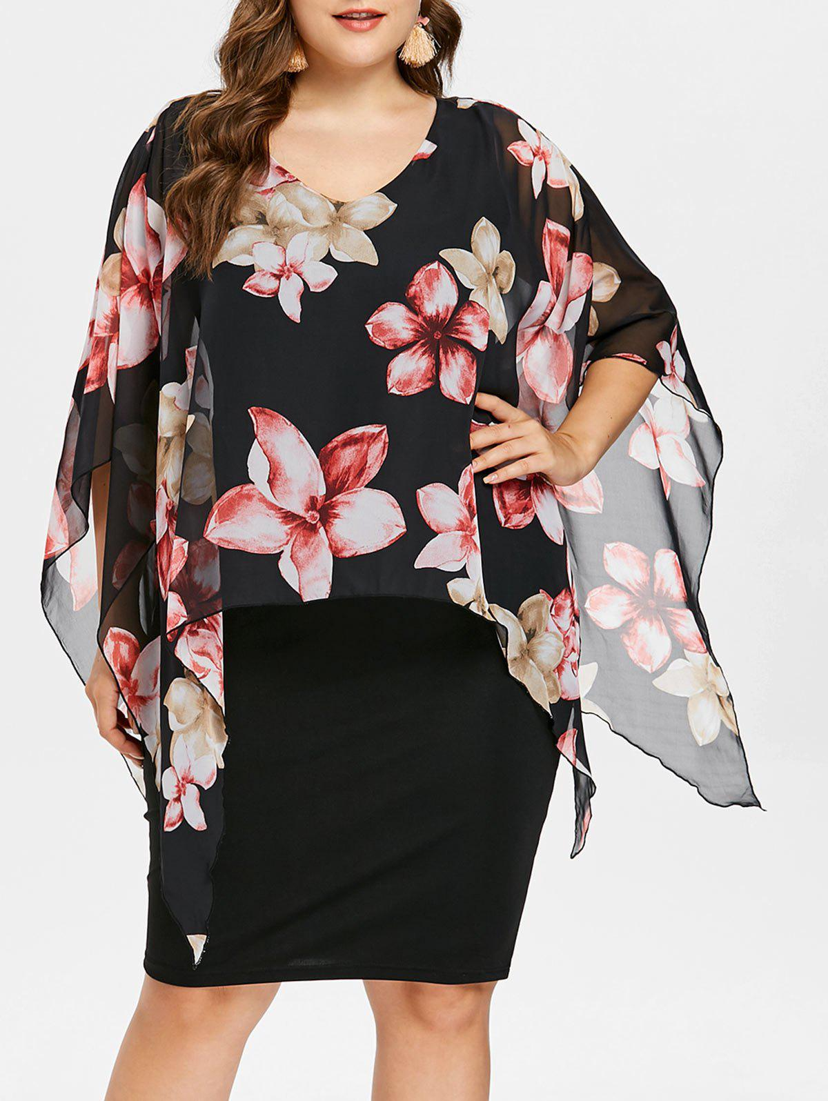 Fancy Plus Size Floral Overlay Sheath Dress