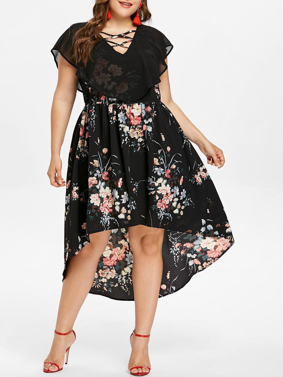 Outfits Plus Size Lattice Front Floral Overlay Dress