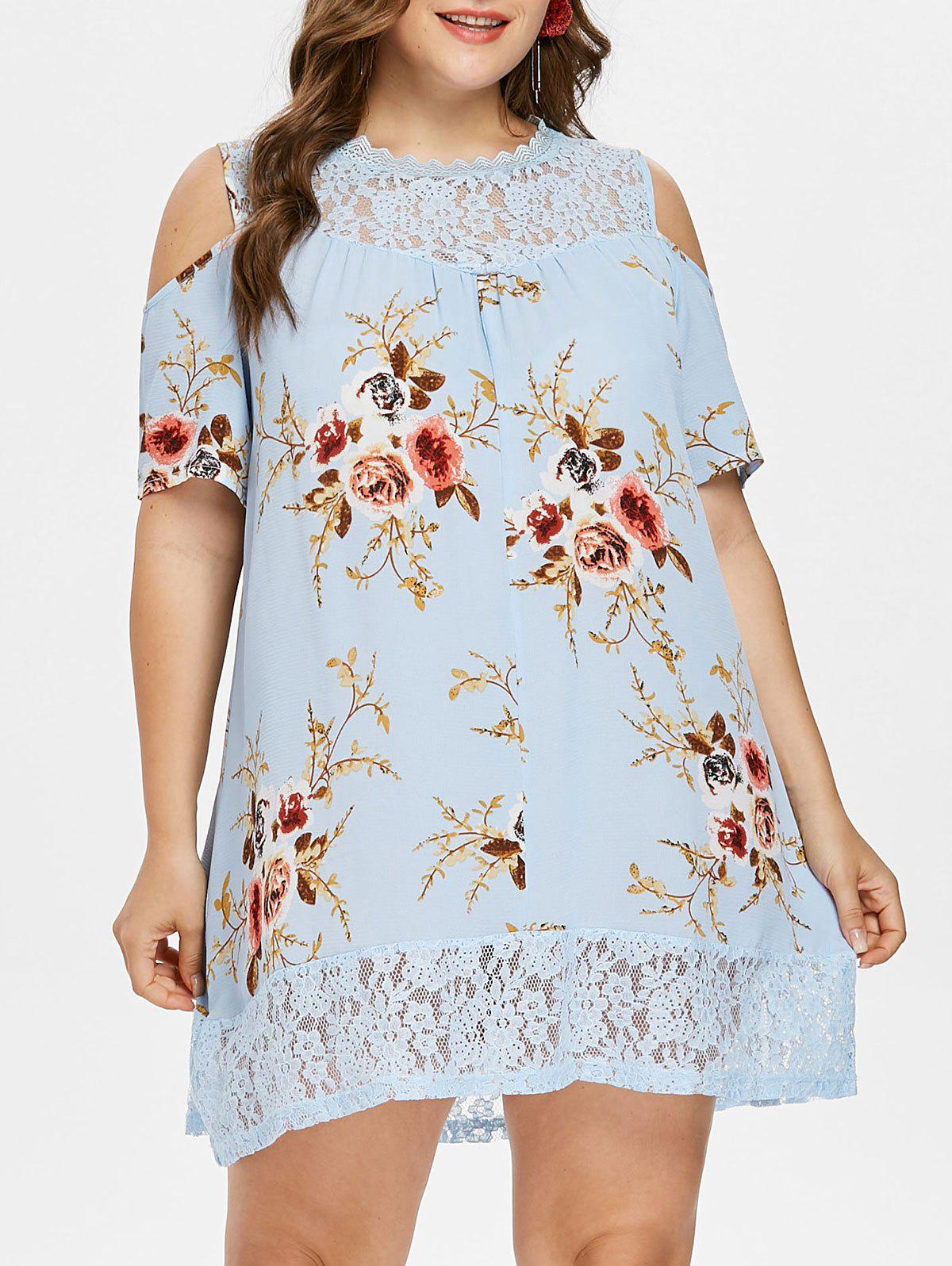 Fancy Plus Size Floral Print Cold Shoulder Dress