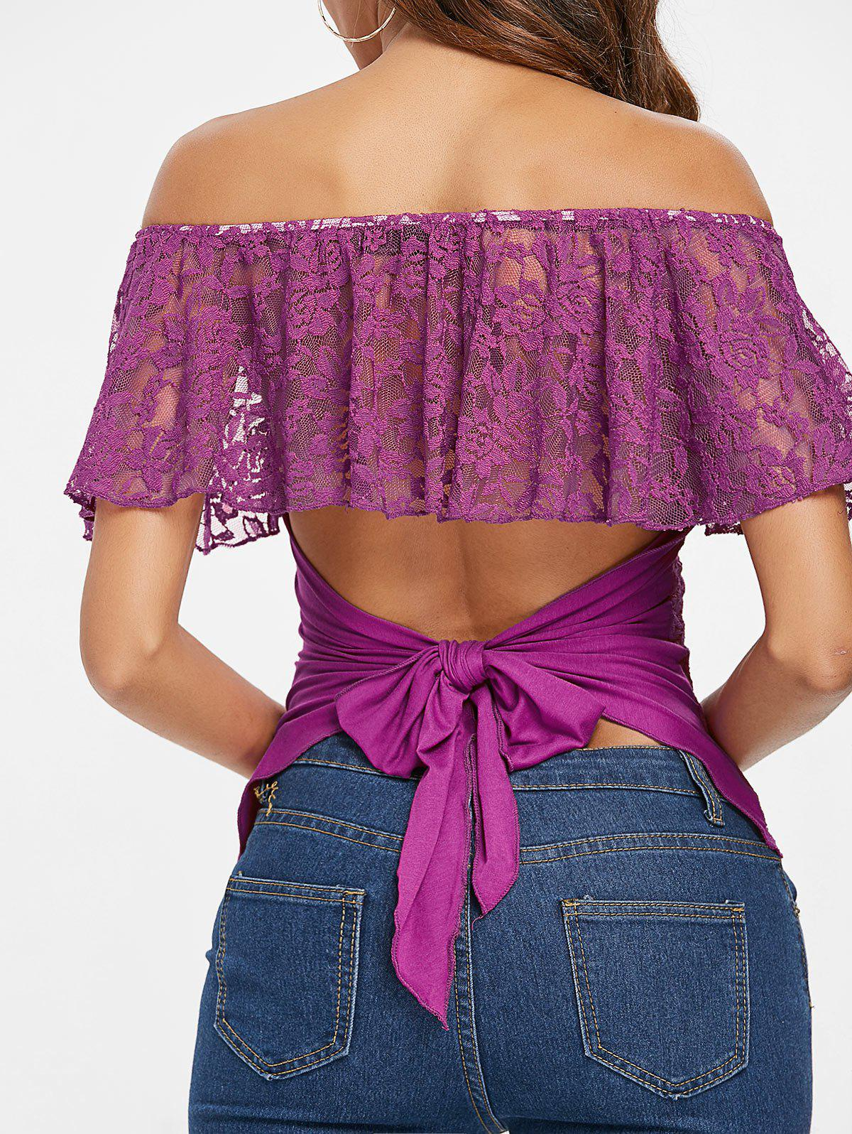 New Lace Panel Off The Shoulder T-shirt