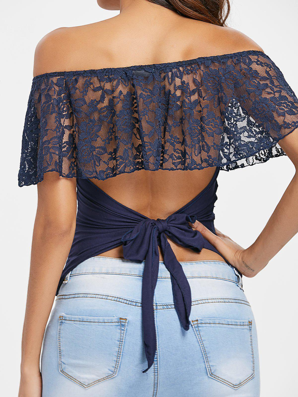 Outfits Lace Panel Off The Shoulder T-shirt