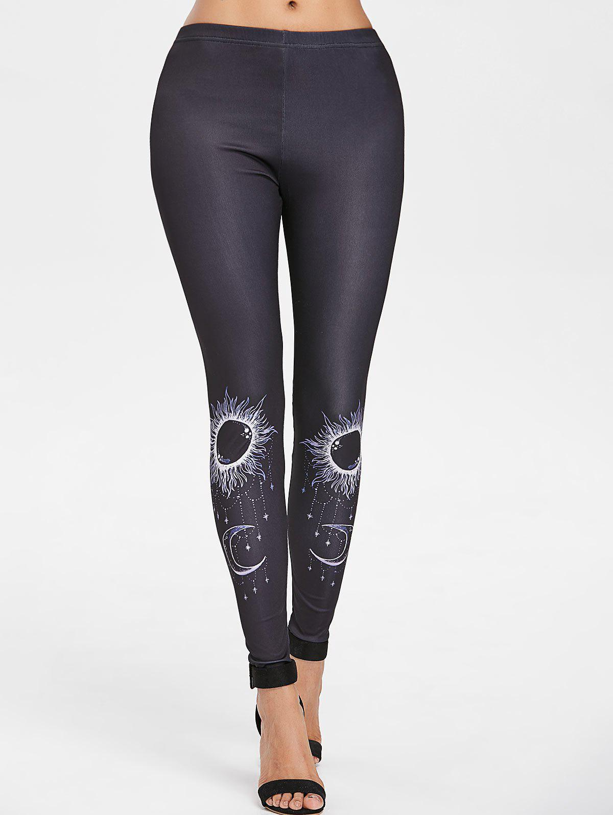 Chic Ethnic Moon Print Elastic Waist Leggings