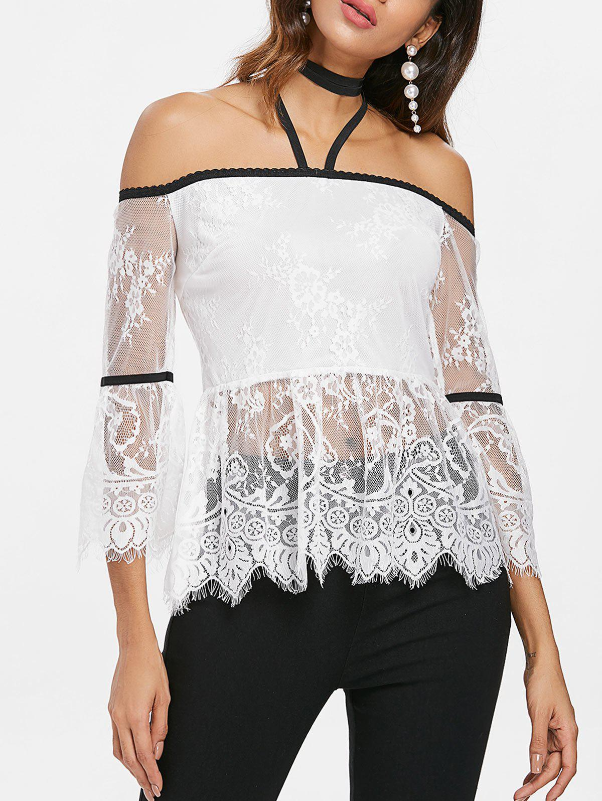 Latest Halter Neckline Backless Lace Blouse