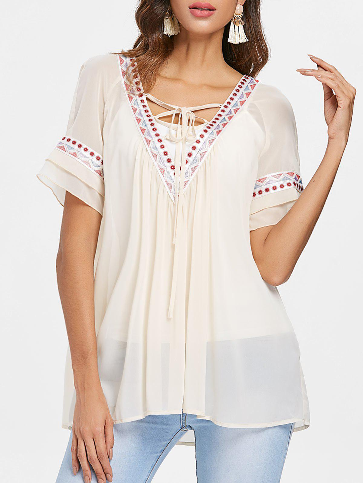 Hot Lace Up Collar Embroidery Chiffon Blouse