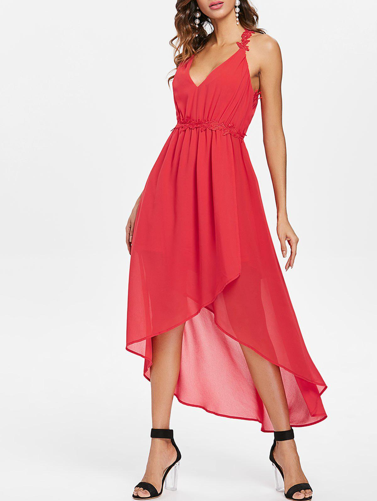 Cheap Cut Out Back Sleeveless Chiffon Dress