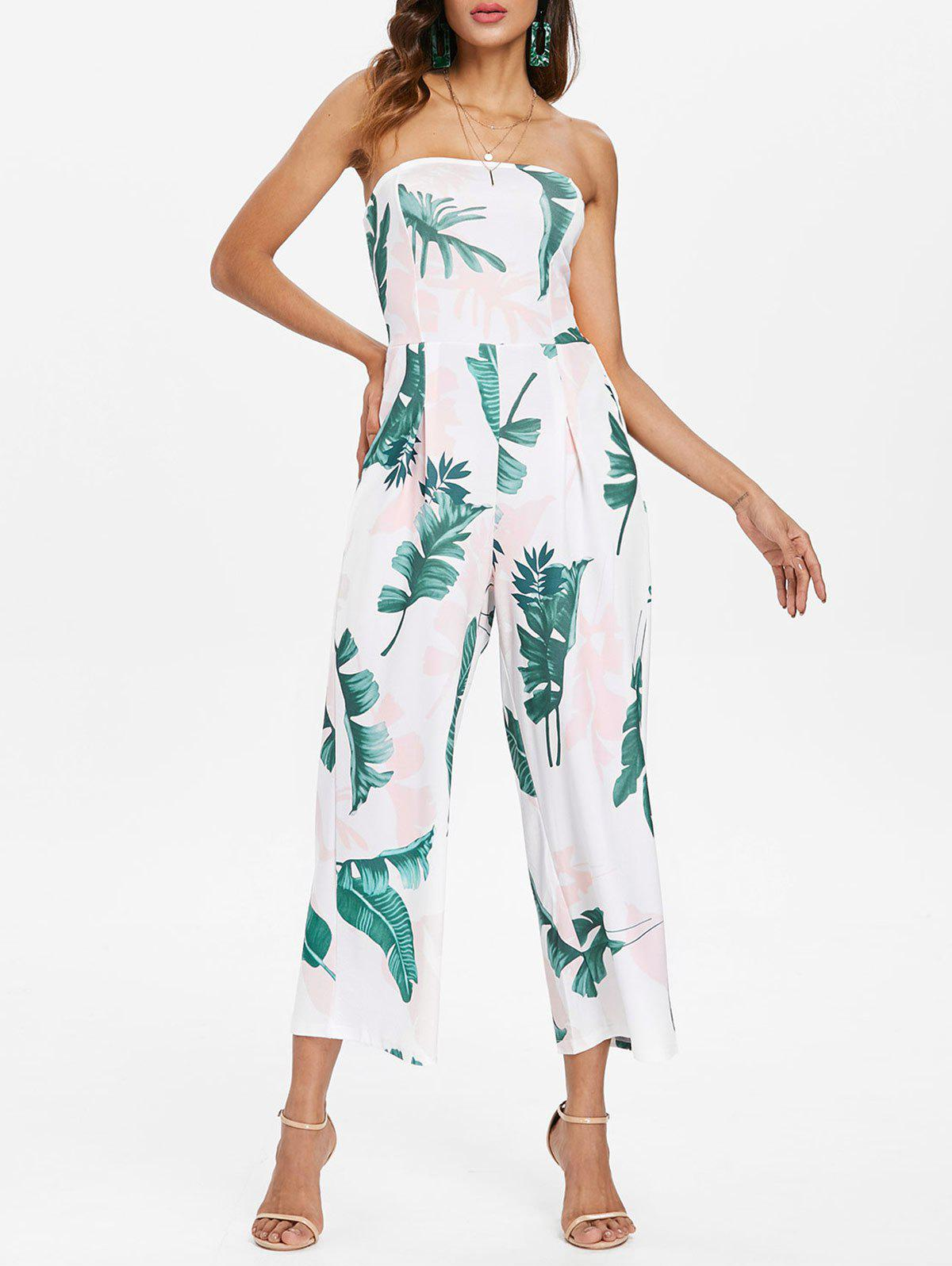 Outfit Leaf Print Strapless Jumpsuit