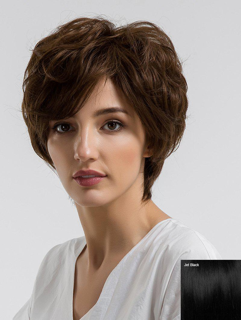 Best Short Side Bang Fluffy Slightly Curly Human Hair Wig
