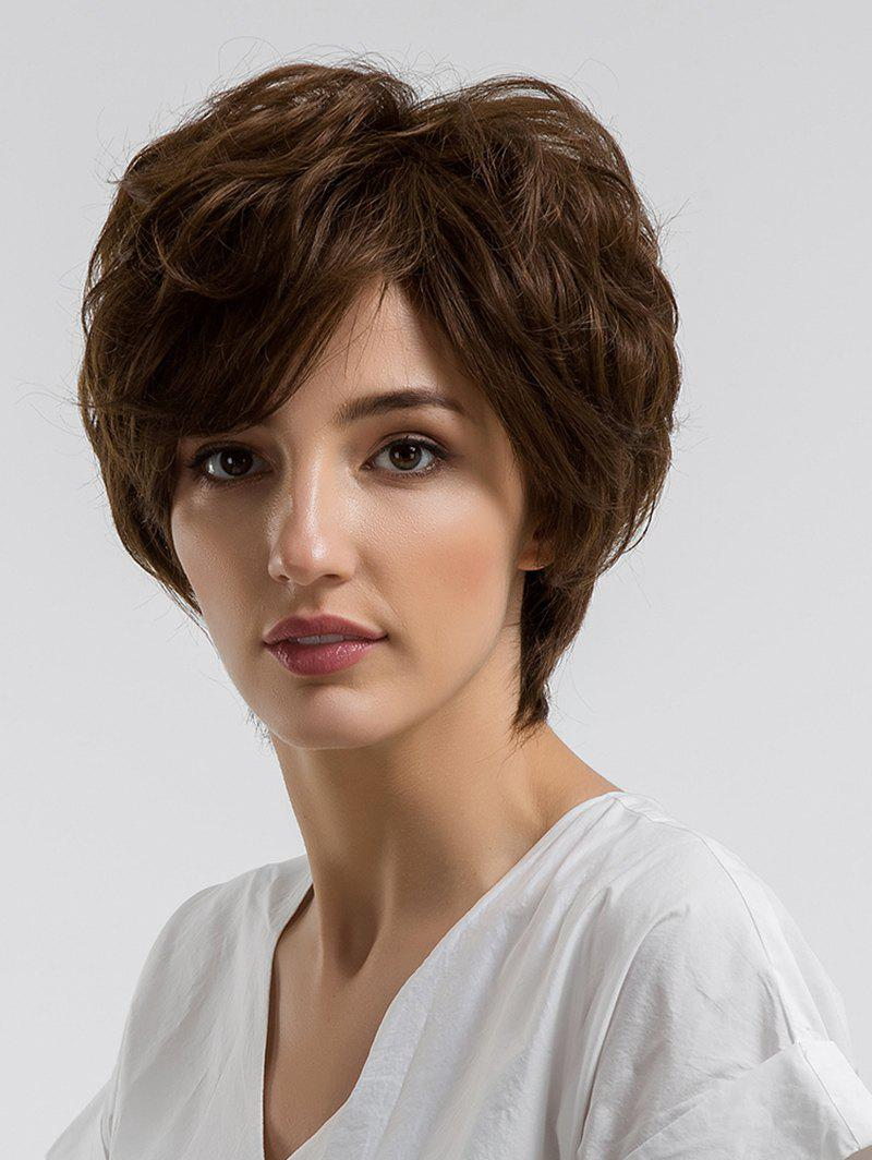 Store Short Side Bang Fluffy Slightly Curly Human Hair Wig