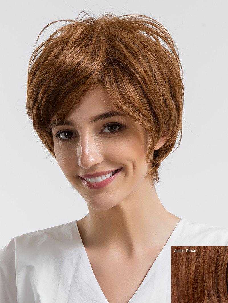 Unique Short Side Bang Straight Human Hair Wig