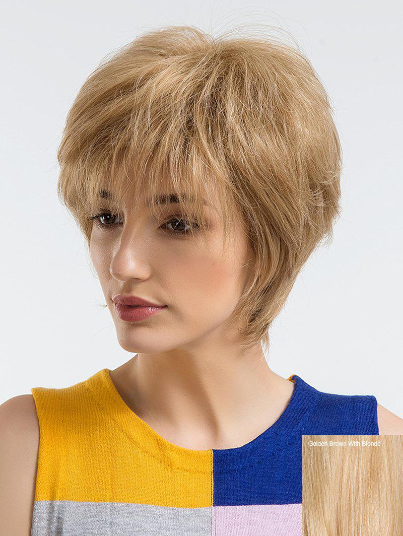 Chic Short Side Bang Straight Human Hair Wig