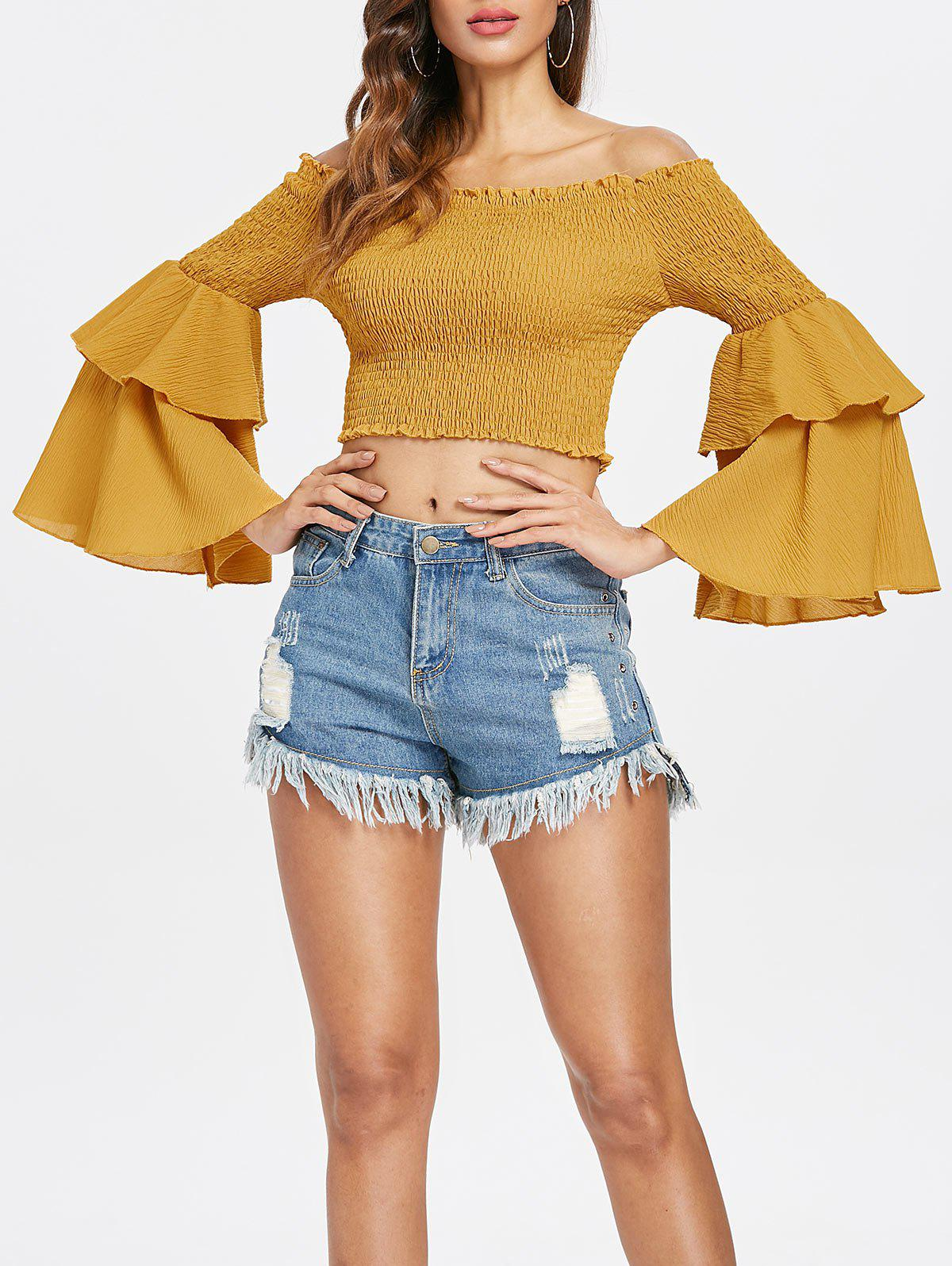 Sale Shirred Bell Sleeve Crop Top