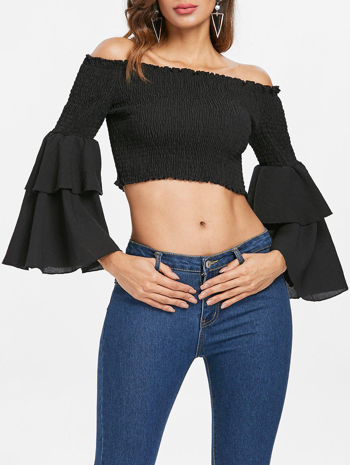 Outfits Shirred Bell Sleeve Crop Top