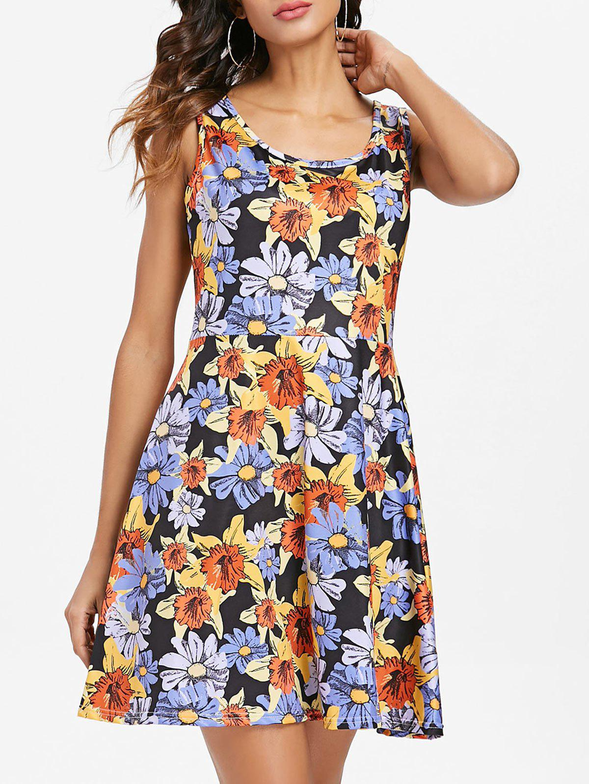 Discount Floral Pattern Round Neck Fit and Flare Dress