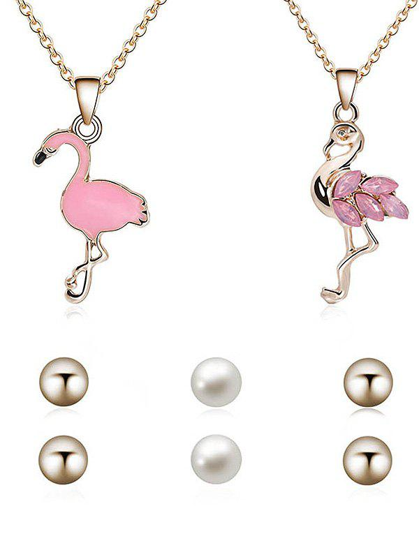 Buy Vintage Flamingo Necklace Pendant Necklace Stud Earrings Set