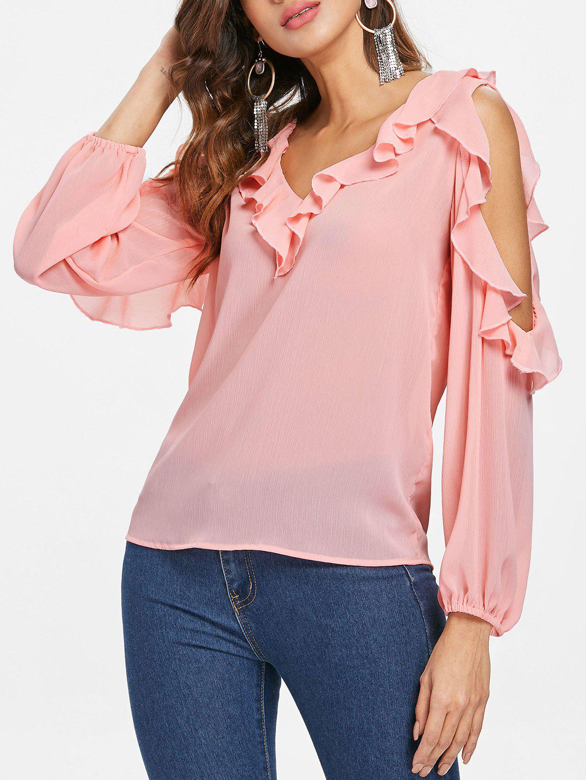 Buy Flounce Insert Open Shoulder Blouse