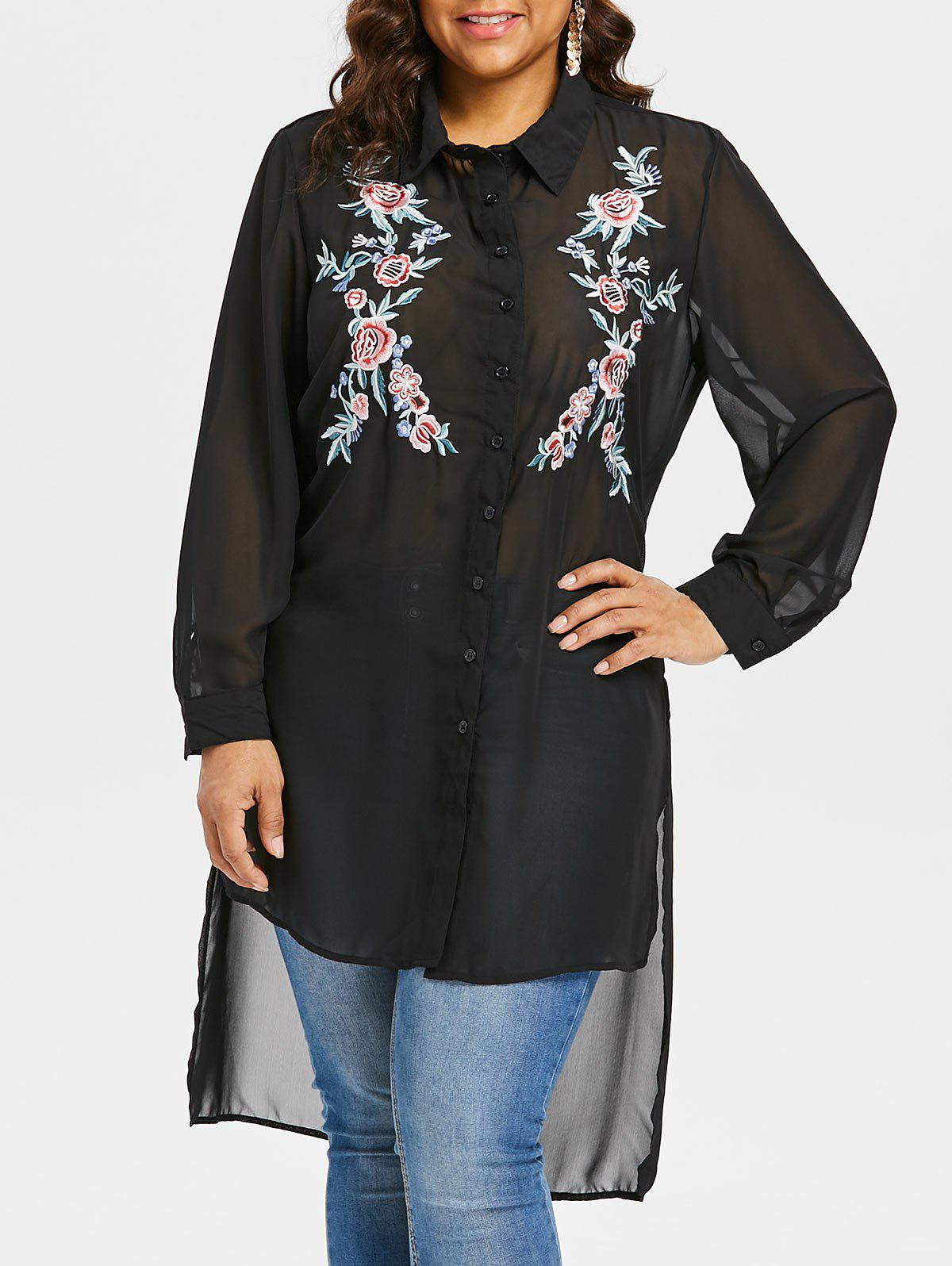 Trendy Plus Size Embroidered Sheer High Low Blouse