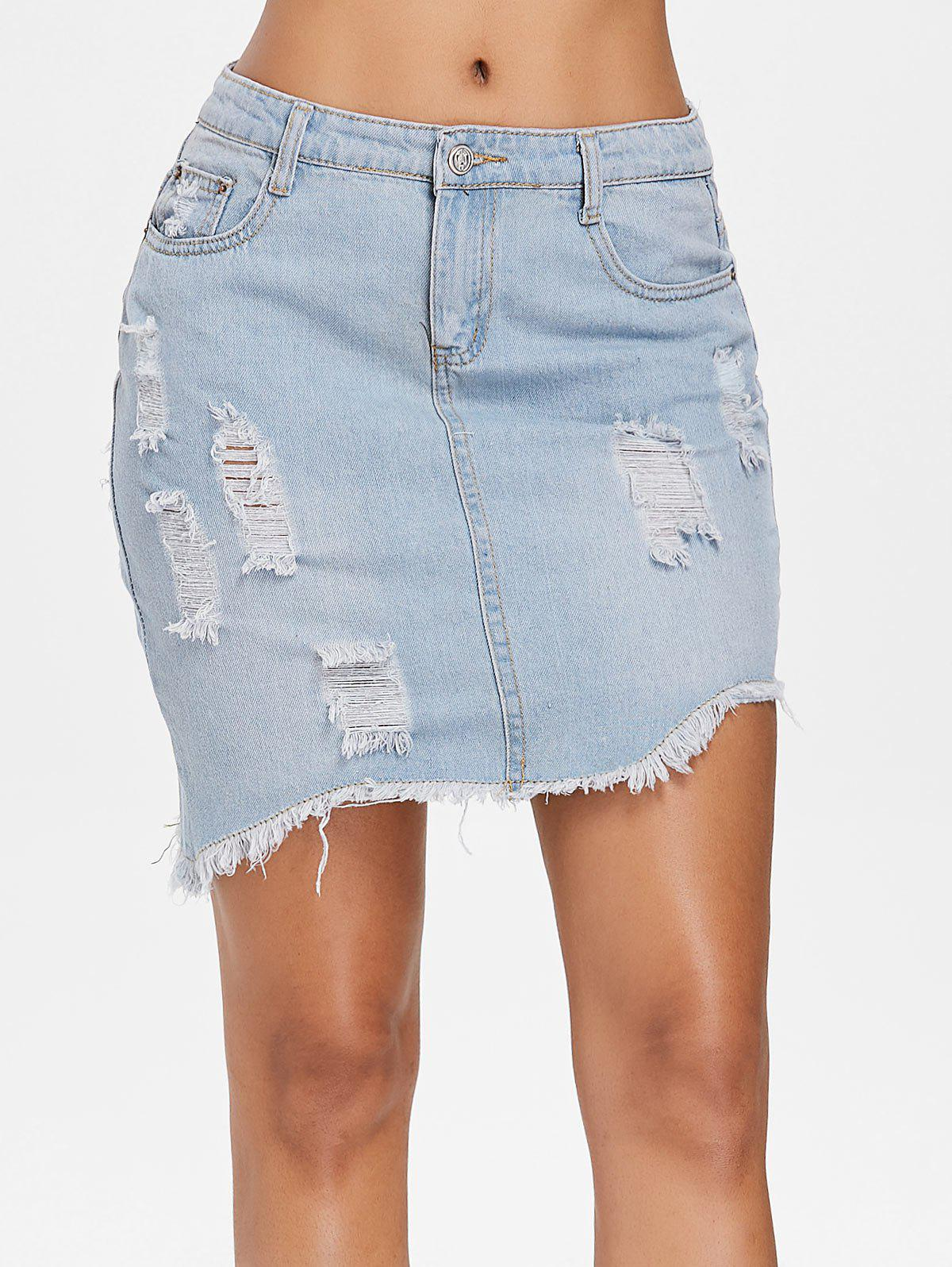 Affordable Asymmetrical Ripped Jean Skirt