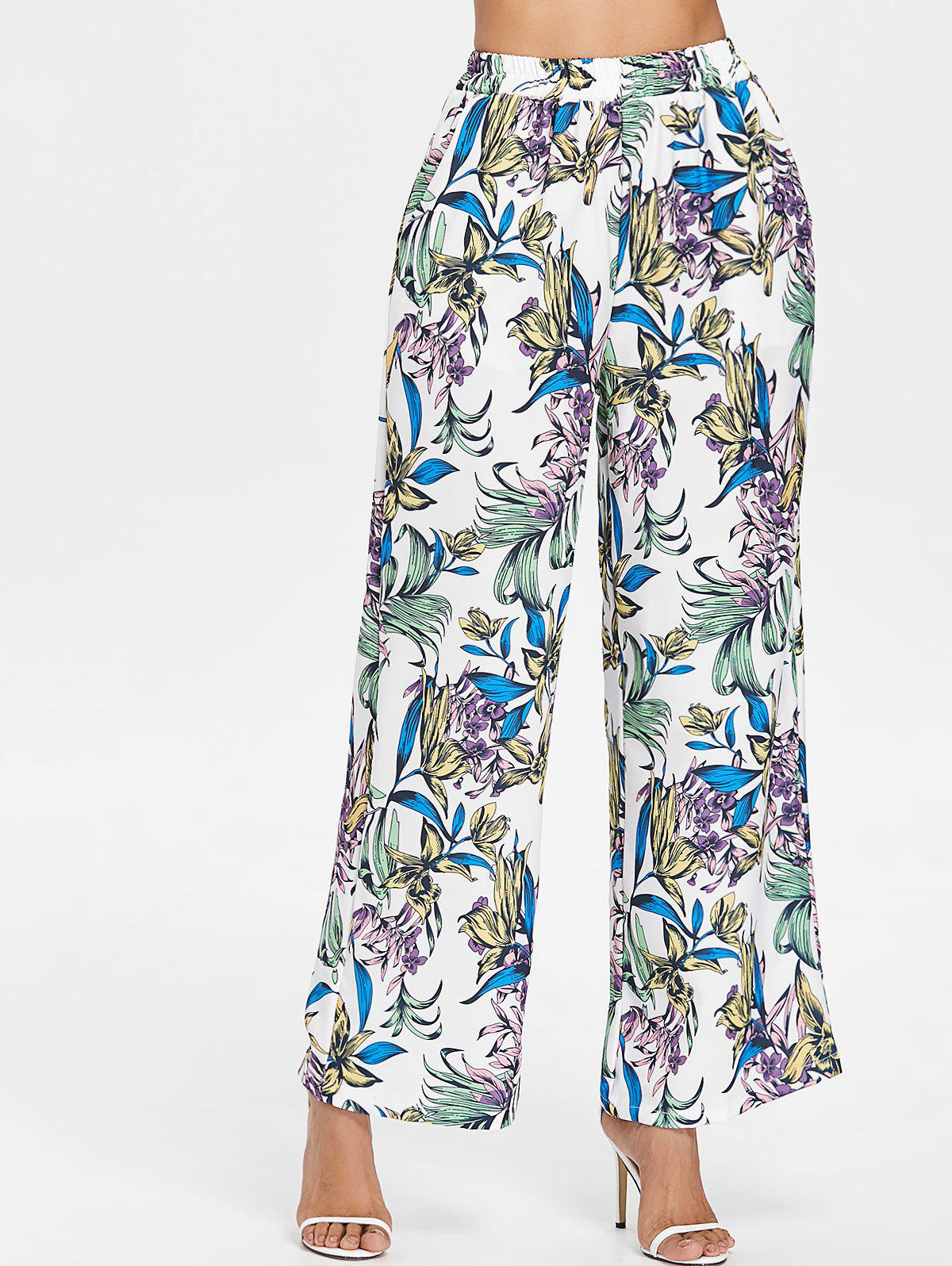 Fashion Floral Print Wide Leg Pants