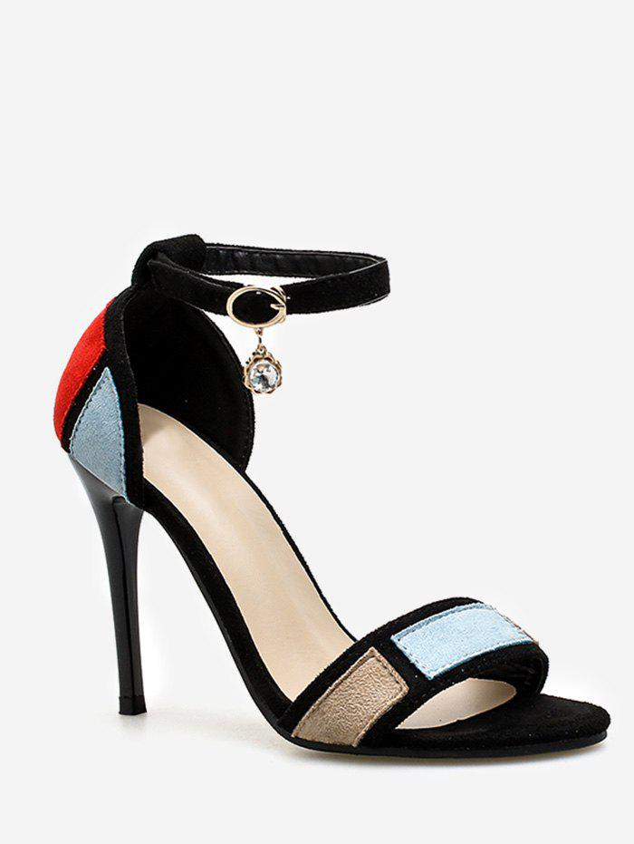 Store Stiletto Heel Contrasting Color Ankle Strap Sandals